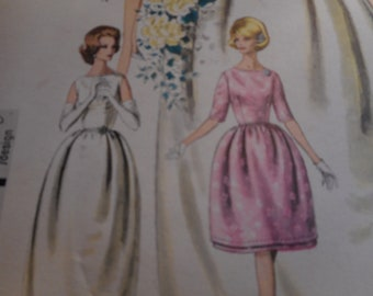 Vintage 1960's Vogue 4203 Special Design Bride's or Bridesmaid's Dress, Bolero and Petticoat Sewing Pattern Size 12 Bust 32