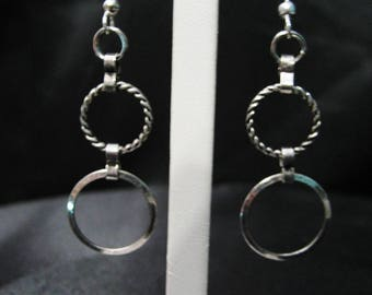 Silver Circle Hanging Hoops
