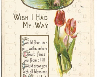Wish I had My Way Victorian Lady Sitting on Tree by Lake Scenic Red Tulips Poem Vintage Postcard