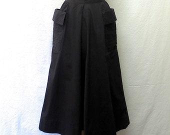 1950s Vintage Cotton Skirt / Black Pintucked Pockets Skirt
