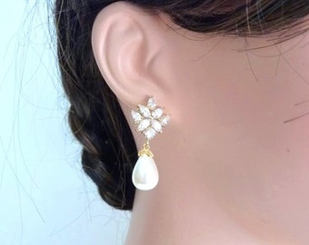 Wedding Bridal Earrings - White Teardrop Pearl with Yellow Gold Plated Flower Cubic Zircoina Post Earrings