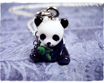 Panda Bear Necklace - Black and White Resin Panda Bear Charm on a Delicate Silver Plated Cable Chain or Charm Only
