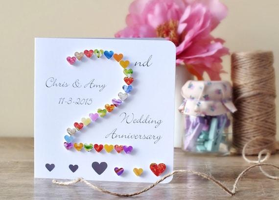 Nd wedding anniversary card handmade personalised second