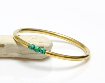 MOTHER'S DAY SALE - simple stone bracelet,simple beaded bracelet,14k gold bracelet,gold bangle bracelet,Turquoise bracelet