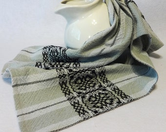 Handwoven Cotton Towel for Kitchen or Bath - Grey Black Handtowel, Kitchen Towel, Handwoven Towel - #14-07 grey weft