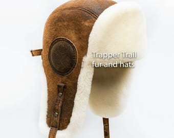 Man Aviator sheepskin hat with natural leather