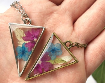 Triangle Pendant Made With Real Pressed Forget Me Not Flowers, Ferns, and Verbenas, Bridesmaid Gift, Birthday Gift, Gift For Her