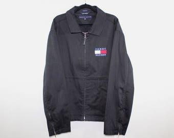 90s Tommy Hilfiger Spell Out Full Button Flight Bomber Jacket Mens 2XL, Vintage Tommy Hilfiger Jacket Vintage Jacket, 90s Tommy Jacket Black