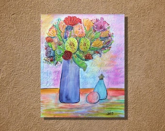 Les Fleurs Original Watercolor and Ink Painting 16 x 20