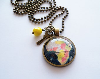 Globe Necklace -  1 Inch Map Pendant Necklace - You Choose Bead and Charm - Africa - Adoption Jewelry - Travel Necklace - Customizable