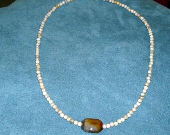 Gemstone Necklace - Agate and Grey Feldspar