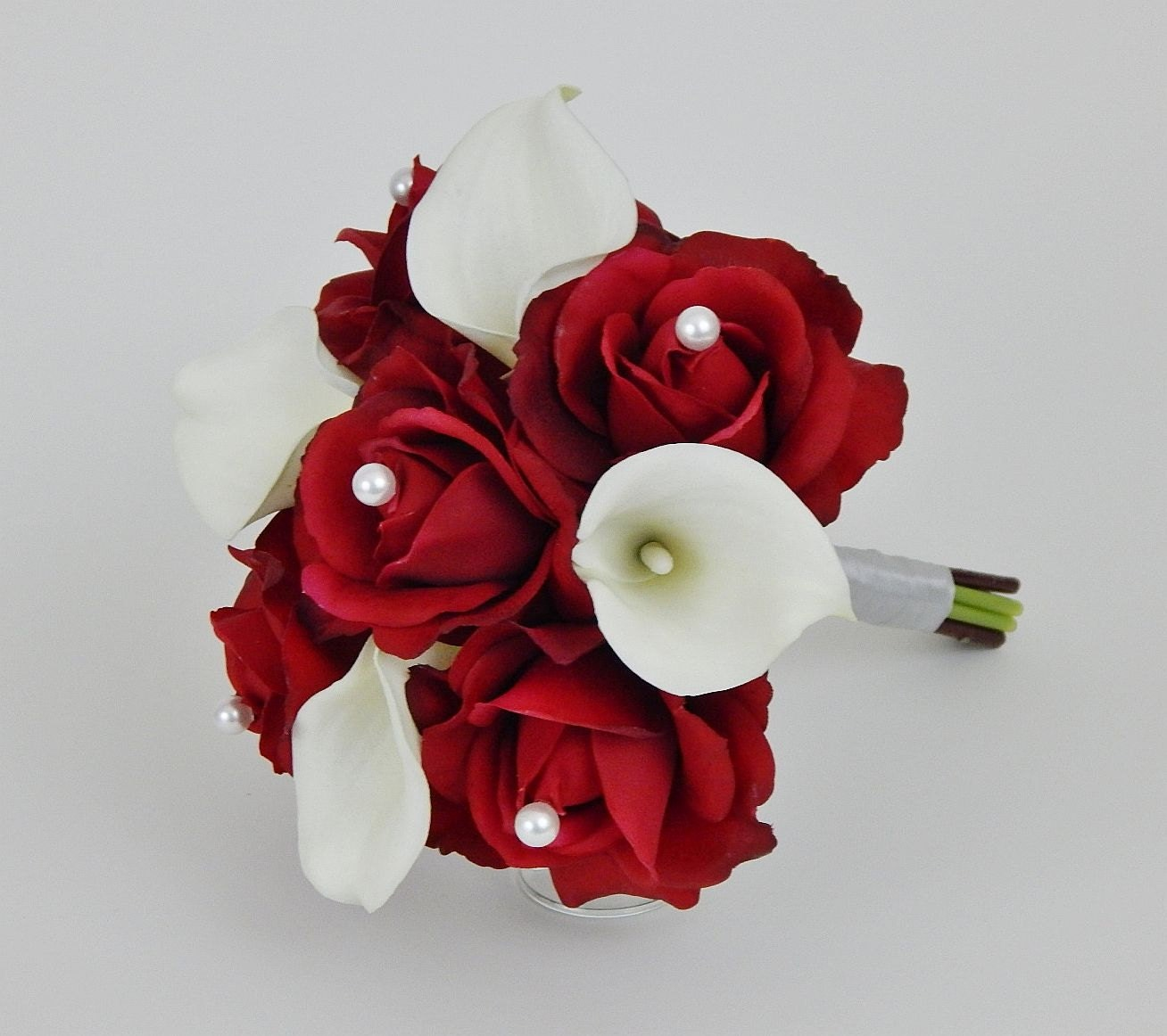 Bridesmaid Moh Bouquet Red White Ivory Pearls Real Touch
