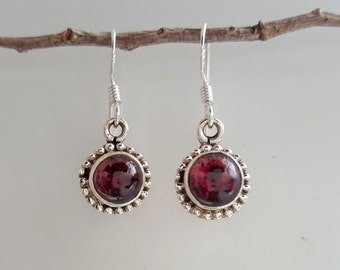 Garnet Earrings - January Birthstone Earrings - Sterling Silver Garnet Jewelry - Dangle Earrings - Dark Red Earrings
