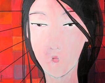 Painting on canvas with acrylic geisha painting original handmade