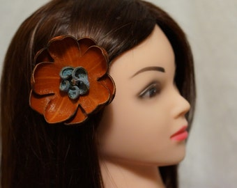 Recycled Leather Hair Clip for Hair, Hat or Lapel