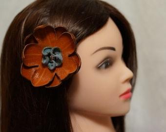 Pince à cheveux en cuir recyclé pour les cheveux, chapeau ou revers