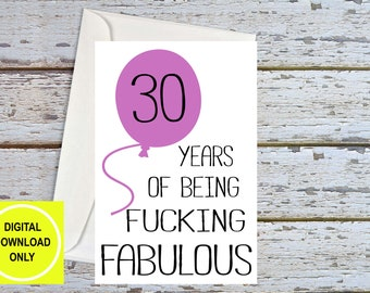Funny 30th Birthday, 30th Birthday For Her, 30th Birthday Card, 30th For Wife, 30th Birthday For Friend, 30th For Girlfriend, Printable