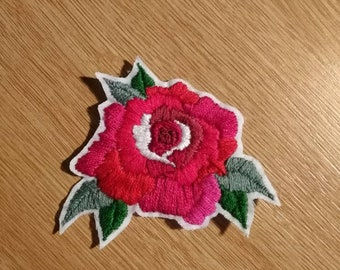 Hand embroidered rose patch