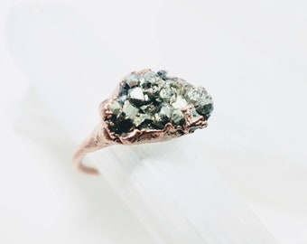 Raw Pyrite Cluster Ring
