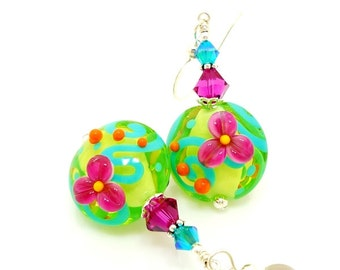 Floral Earrings, Bright Earrings, Lampwork Earrings, Glass Earrings, Glass Bead Earrings, Colorful Earrings, Neon Earrings, Green Earrings