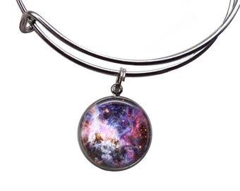 Pastel Galaxy Charm Bangle | Galaxy Jewelry Nebula Bracelet Bohemian Bracelet Galaxy Bracelet Space Jewelry Grunge Bracelet Boho Jewelry