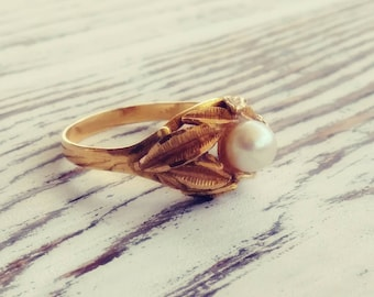 Antique 18k Gold Pearl Ring Size 5.5