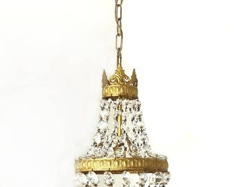 French Vintage Glass Pendant Beads Gold Balloon Chandelier - Antique Baroque Pendant Light