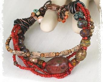 Red multistrand stone bracelet, Chunky beaded bracelet, Handmade gypsy bracelet, Sundance, Adjustable fit bracelet, Red rustic bracelet