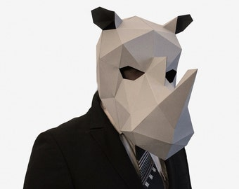 Rhino Mask, DIY printable Animal Head, Rhinoceros Mask, Instant Pdf download, DIY New Year Mask, 3D Polygon Masks, Printable Mask