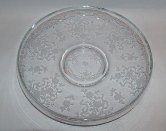 "7984: Vintage fostoria Glass Etched Romance Large 12"" Shallow Bowl Centerpiece Elegant Glass at Vintageway Furniture"