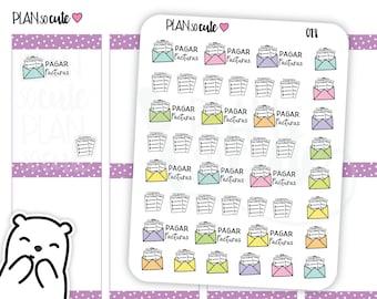 Pagar Facturas Planner Stickers, En Español, Planner Stickers -028