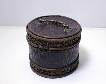 Circular Wooden Box Purse