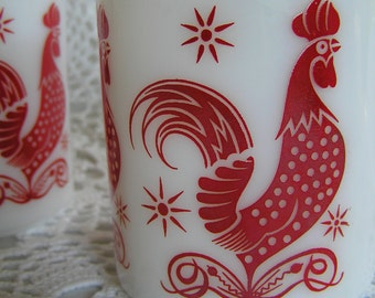 VIntage Hazel Atlas Rooster Mugs Set of 4, Milkglass, Red & White Coffee Cups, Cottage Country Chic