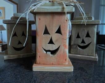 Halloween jack o lantern, wooden jack o lantern Rustic handmade lantern Halloween decorations Halloween decor Trick or Treat lantern