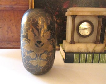 Vintage Brass Vase with Inlaid Floral and Swan Design, Chinoiserie Decor, Brass Vessel, Hollywood Regency