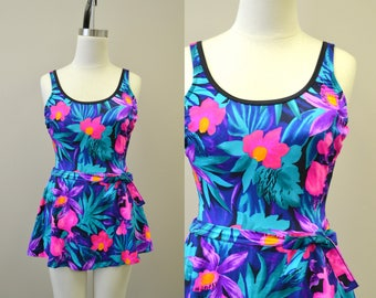 1980s Floral Skirted Swimsuit