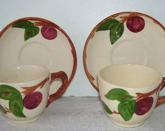 2 Sets Franciscan Apple Tea Cups and Saucers, 2 Tea Cups made In England, 2 Franciscan Saucers Made in U.S.A. California Pottery, English