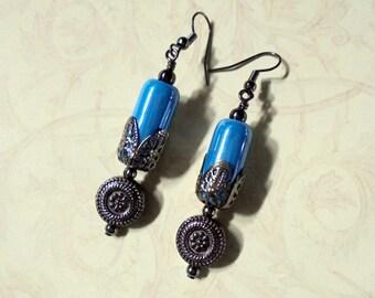 Teal Blue and Black Boho Earrings (3095)
