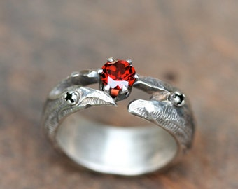 Sale Medieval Garnet Serpent Spinel Sterling Silver Ring Free Domestic Shipping