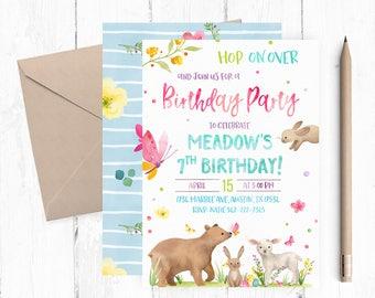 Bunny Birthday Invitation, Bunny Birthday Party, Bunny Invitations, Spring Birthday Invitations, Garden Birthday Invitation, Garden Party,