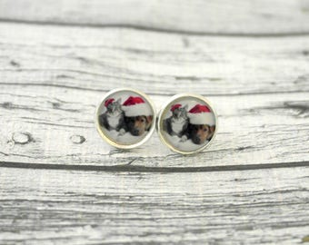 Jewelry, pair of earrings cabochons dog and cat Christmas, 1.4 cm diameter