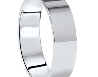 Mens 6MM 950 Palladium Wedding Band High Polished Ring Size (7-12)