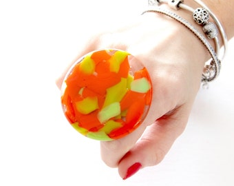 Big Ring, Fused Glass Jewelry Cocktail Ring - Fall fashion, marbled ring, bold ring, handmade ring, statement ring, cocktail ring,