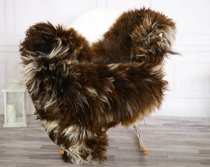 Sheepskin Rug | Real Sheepskin Rug | Shaggy Rug | Chair Cover | Sheepskin Throw | Brown White Sheepskin | Home Decor | #Apriher29