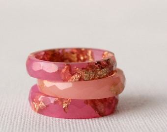 watermelon pink size 7.5 thin multifaceted eco resin ring