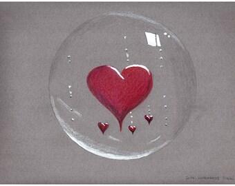 Drawing red heart pencil drawing original drawing