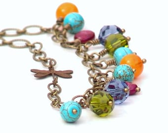 Multicolor Beaded Dragonfly Necklace Catherine Jeltes Fashion Jewelry  Blue Turquoise Green Orange Spring