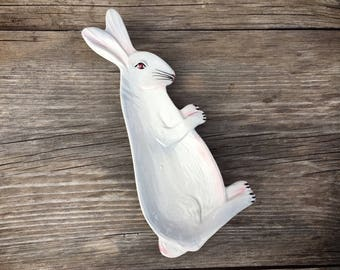 Rabbit Spoon Rest Easter Decor, Italian Spoon Rest, Jewelry Dish, Rustic Decor