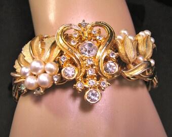 Wedding Bracelet, Upcycled, Vintage, Bride, Bridesmaid Gift, Gold, Pearl, Rhinestone, Recycled, Jennifer Jones, Under 60, OOAK - Wrist Tiara