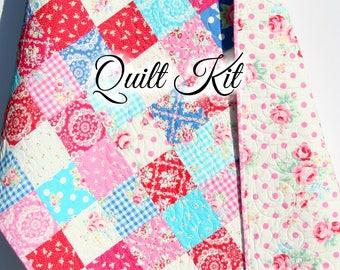 Baby quilt kit precut charm pack quilt kit quilting ideas baby girl quilt kit flower sugar fall 2015 lecien fabrics blue pink aqua solutioingenieria Images